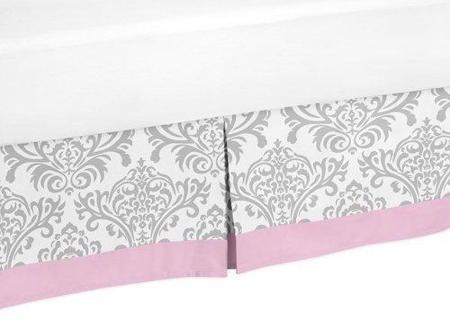 Sweet Jojo Designs Pink and Gray Elizabeth Queen Bed Skirt for Children's Teen Bedding Sets
