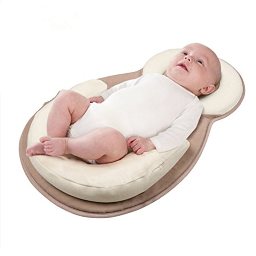 JJ Portable Baby Bed Mattress Baby Pillow For Newborn Baby and Infant Flat Head Syndrome Prevention Anti-Roll Adjustable Size Crib Mattress (Beige)