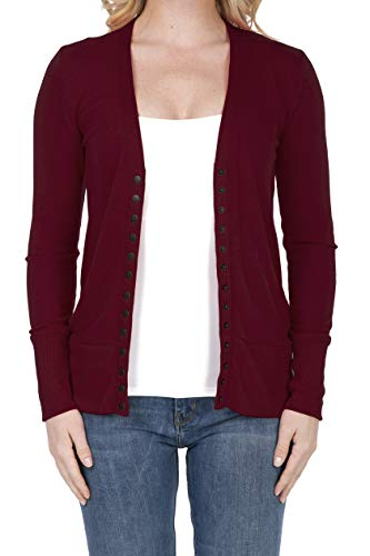SHOP DORDOR 2039 Women's Button Down Long Sleeve Knit Cardigan Sweater Cabernet M ()