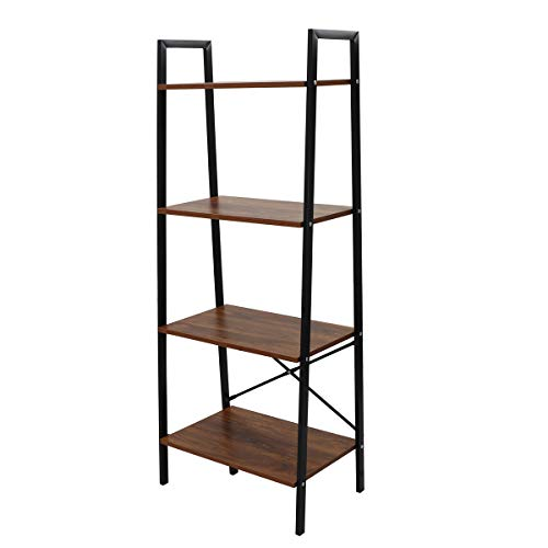 LASUAVY 4-Tier Ladder Shelf Bookcase Multifunctional Book Rack Storage Shelves Plant Flower Stand Rack, Premium Wood Furniture for Home, Office, Bathroom, Living Room