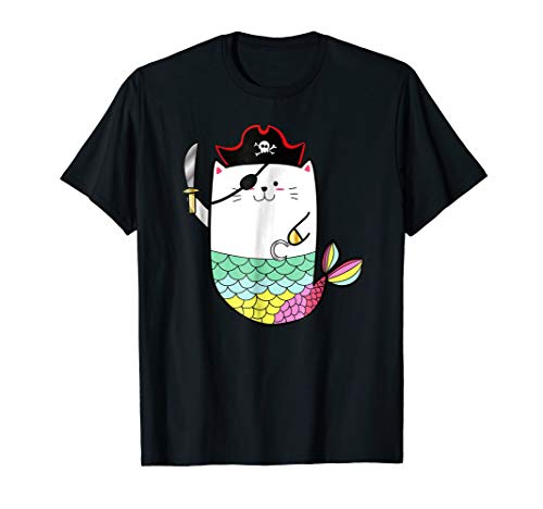 Funny Rainbow Cat Mermaid Halloween Pirate Costume Shirt