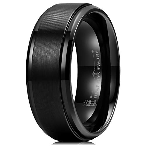 THREE KEYS JEWELRY Mens 8mm Black Zirconium Wedding Band Textured Brushed Flat Comfort Fit Interior Beveled Edge Promise Ring Size 9.5