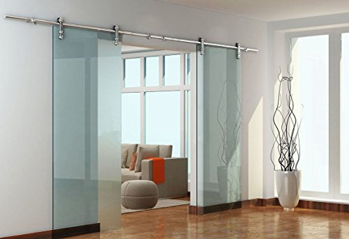 Diyhd 10FT Easy Installation Stainless Steel Glass Sliding Barn Door Interior Partition Door Office Glass Door Double Sliding Glass Door Track Kit