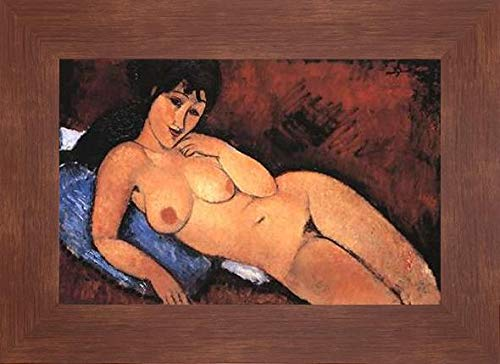 "Nude On A Blue Cushion by Amedeo Modigliani - 19"" x 28"" Framed Giclee Canvas Art Print Walnut Finish - Ready to Hang"