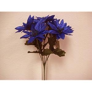"4 Bushes NAVY BLUE Christmas Glitters Poinsettia Artificial Silk Flower 12"" Bouquet 4-2209 NBL 118"