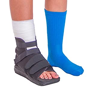 BraceAbility Foot Cast Boot | Open-Toe Bandage Protection Shoe for Post-op Bunion Surgery Recovery, Fractures & Foot Injuries (Medium)