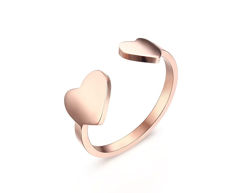 Rose Gold Plated Stainless Steel Polished 2 Heart Open Pinky Rings for Women Adjustable Size Mealguet PartialUpdate