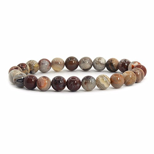 Justinstones Natural Mexican Lace Agate Gemstone 8mm Round Beads Stretch Bracelet 7