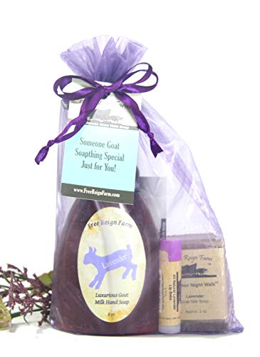 (Lavender Bath Set. A Spa Kit of Lavender Goat Milk Foaming Soap, Lavender Goat Milk Half Bar Soap and Lavender Beeswax Lip Balm )