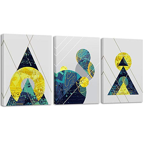 3 Panels Canvas Prints Wall Art Abstract Geometry Painting Blue Gold Modern Pictures for Living Room Decor (12x16inchx3pcs)