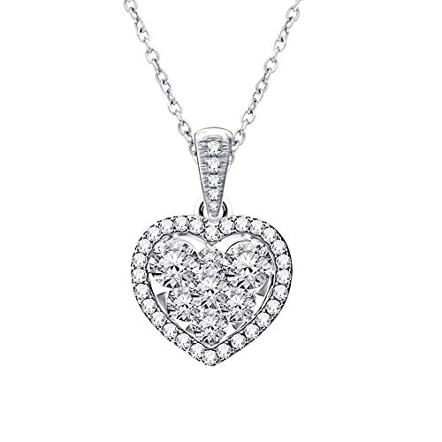 - 14K White Gold Pave Set Heart Diamond Pendant Necklace (0.65 Carat)