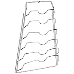 Kitchen Organize It All Wall Cabinet Door Mounted Pot Lid Rack, Chrome Finish pot lid holders