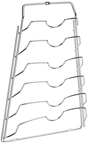 Organize It All Wall Cabinet Door Mounted Pot Lid Rack, Chrome Finish (Lid Pan Rack)