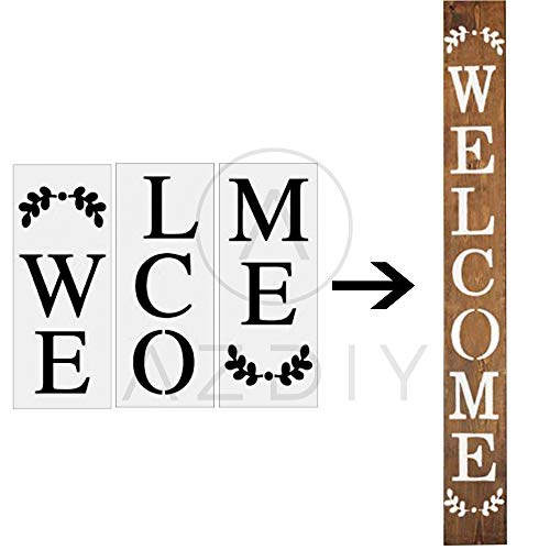 Welcome Sign Stencil 3 PCS Large Vertical Stencils for Porch Sign AZDIY Reusable Stencils Set for Painting on Wood Large Farmhouse Stencils for Holiday Decorating Chalk Couture for Home Décor & DIY