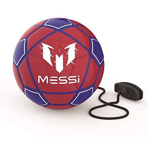 Leo Messi Soccer Ball | Solo Youth Soccer Football Kick Throw Trainer with Adjustable Control Cord | Skill Training for Soccer Practice & Drills, Size 3 ()