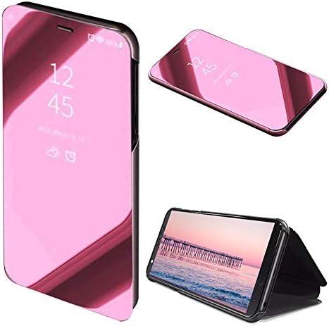 Rose Gold Klar Aussicht Fenster Hülle für Samsung Galaxy S10 5G,Mirror Handyhülle für Samsung Galaxy S10 5G,Moiky Luxuriös Edel Spiegel Bewirken Überzogen Metall Clear Ständer Hülle