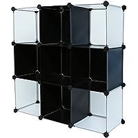 C&AHOME - DIY 9 Cube Bookcase Storage Organizer Media Shelf Toy Rack Kids (Black Cross)
