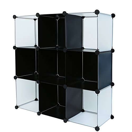 C&AHOME - DIY 9 Cube Bookcase Storage Organizer Media Shelf Toy Rack for Kids (Black Cross) Big Book Rack