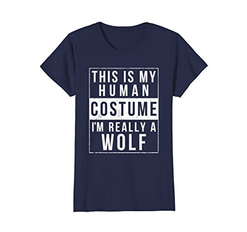Womens Wolf Halloween Costume Shirt Funny Easy for Kids Men Women Large (Diy Halloween Costumes For Adults Cheap)