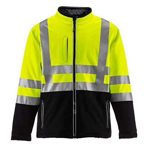 RefrigiWear Men's Hivis Insulated Softshell Jacket - ANSI Class 2 High Visibility with Reflective Tape (Black/Lime, 3XL) - Fleece Ansi Jacket Hooded