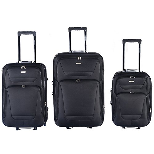 Expandable 3 PCs Luggage Travel Set Trolley Bag Suitcase 2 Wheels - Uk Manchester Outlet