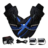 1 Pair Winter Gloves,Thermal Warm Gloves for Men and Women, USB Hand Warmer Electric,4000 mAh Rechargeable Battery Heated Fingers Warm Safe for Outdoor Work
