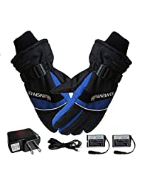 Winter Gloves,Thermal Warm Gloves USB Hand Warmer Electric,4000 mAh Rechargeable Battery Heated Fingers Warm Safe Compatible Men and Women, Suit for Outdoor Work