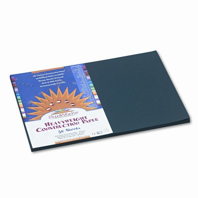 SunWorks Construction Paper, Heavyweight, 12 x 18, Black, 50 Sheets [Set of 2] -