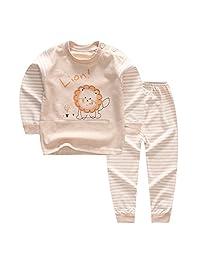 100% Organic Cotton Baby Boys Girls Pajamas Set Long Sleeve Sleepwear(3M-5T)