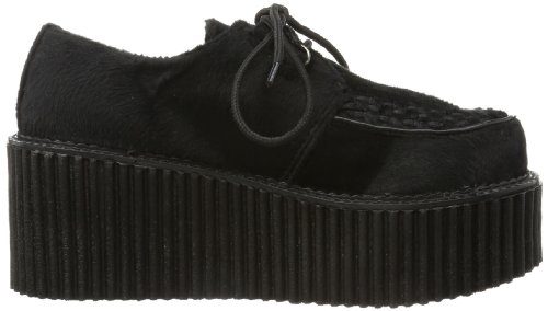 Demonia Door Pleaser Womens Creeper-202 Lace-up Black Fur