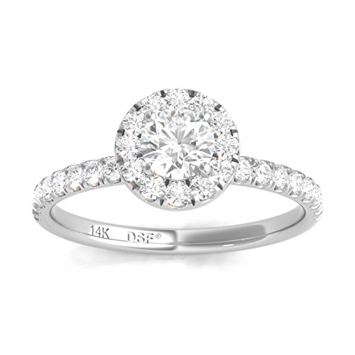 Diamond Studs Forever 14K White Gold Diamond Halo Engagement Ring (3/4 Ctw, IGI USA Certified GH/I1)