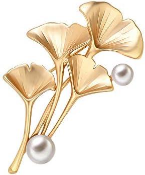ブローチ レディース パール 銀杏型の貝パール ブローチ ブローチ 誕生日プレゼント 女性 記念日