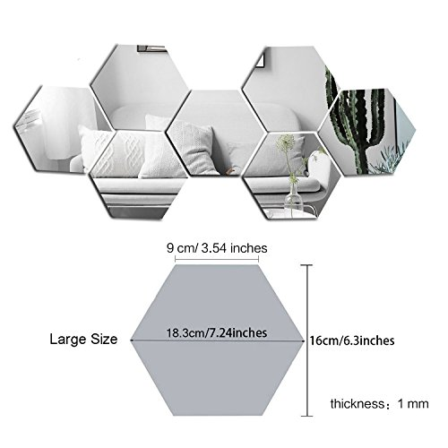 Sunm Boutique Hexagon Mirror 12 PCS Geometric Hexagon Mirror Removable Hexagon Mirror Art DIY Home Decorative 3D Hexagonal Acrylic Mirror Wall Stickers for Room Decor (16cm/6.3inch, Silver)