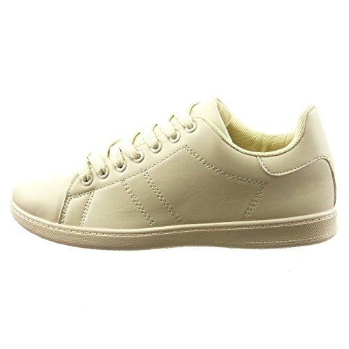 Sopily - Scarpe da Moda Sneaker alla caviglia donna finitura cuciture impunture Tacco a blocco 2 CM - Beige