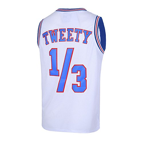 Mens Basketball Jersey 1/3 Tweety Space Jam Jersey White 90S Shirts (Medium) -