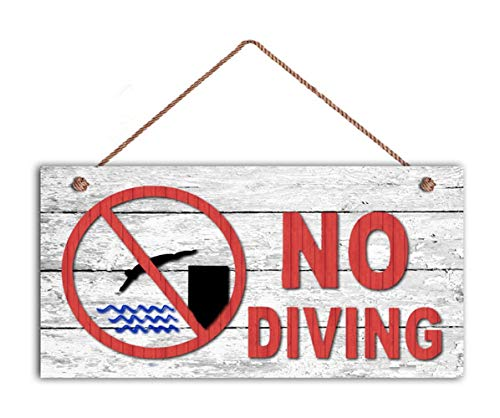 - TOPFINES NO Diving Sign, Swimming Pool Sign, Pool Gate Sign, 5