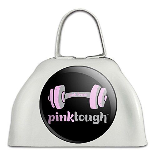 Pink Tough Barbell Cancer Logo White Metal Cowbell Cow Bell Instrument ()