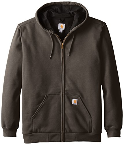 Carhartt Men's Rutland Thermal Lined Zip Front Sweatshirt Hoodie, Dark Brown, X-Large/Tall (Zip Sweatshirt Lined)