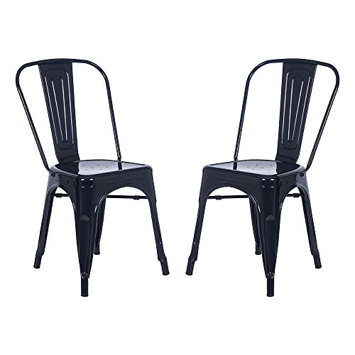 (Merax High Back Steel Stackable Vintage Metal Dining Chair Set of 2 (Black))