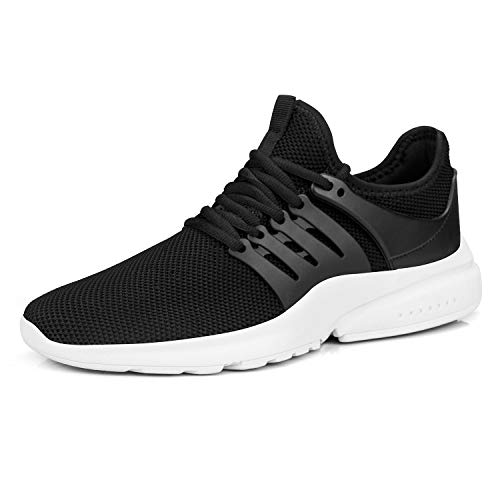 Feetmat Mens Workout Training Sneakers Fashion Outdoor Walking Shoes Breathable Mesh Super Light Black White 12M
