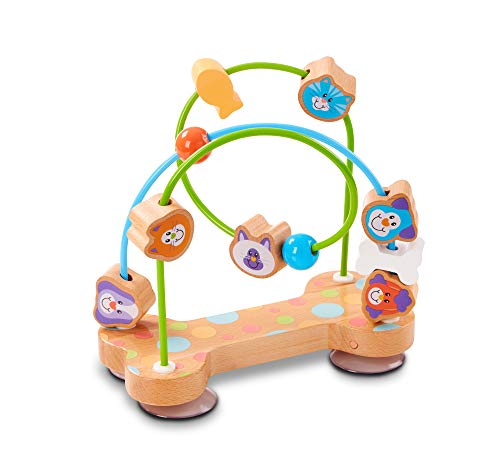 - Melissa & Doug First Play Pets Wooden Bead Maze with Suction Cups for Babies & Toddlers
