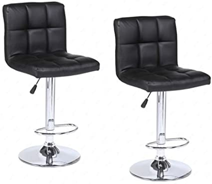 Modern Set of 2 Bar Stools Leather Adjustable Swivel Pub Chair In Multi Colors