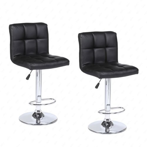 Modern Set of 2 Bar Stools Leather Adjustable Swivel Pub Chair In Multi Colors black - Country : United States