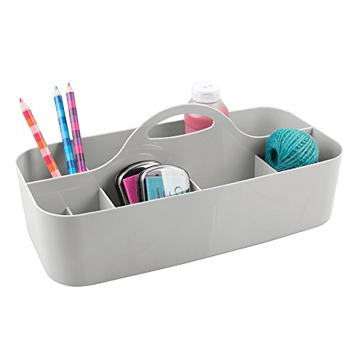 mDesign Art Supplies, Crafts, Crayons and Sewing Organizer Tote - Large, Light Gray by mDesign