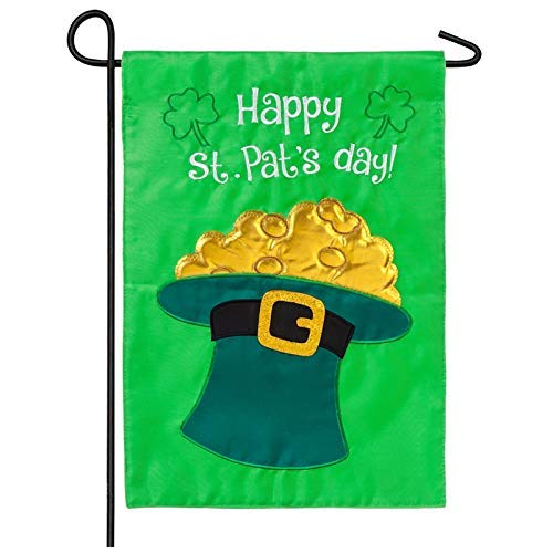 Fabri.YWL Happy St. Pat's Day Applique Garden Flag ()