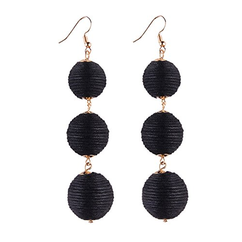 INMIX Womens Black Dangle Earrings Thread Ball Dangle Earrings Fashion Hook Soriee Drop Earrings - Black Dangle Earrings