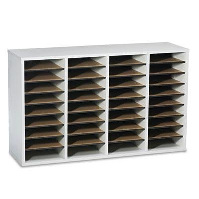 Safco - Wood/Laminate Literature Sorter 36 Sections 39 1/4 X 11 3/4 X 24 Gray ''Product Category: Desk Accessories & Workspace Organizers/Sorters''
