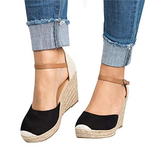 Kathemoi Womens Espadrille Wedge Sandals Ankle Strap Lace Up Slingback Platform Heeled Sandals ()