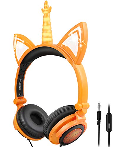 IFECCO Kids Headphones with Mic, 3.5mm Aux Jack and 85dB Volume Limited, Wired Foldable cat Headphones with LED Glowing for Birthday School