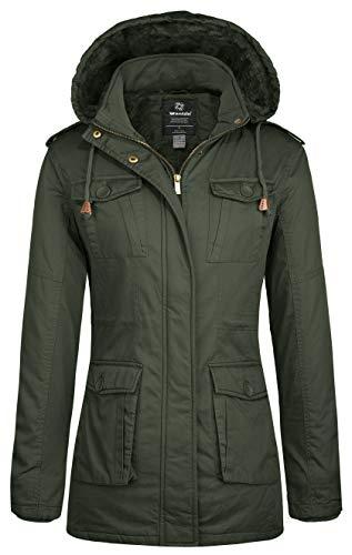 b1e3d6cec90f1 Wantdo Women's Warm Sherpa Lined Parka Coat with Removable Hood ...